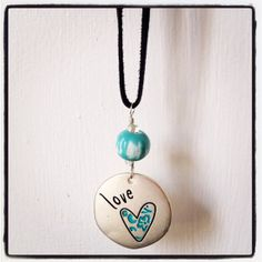 Perfect for Mom. :).   Silver Love Painted Heart Necklace by dragonflydesigns01 on Etsy, $15.00