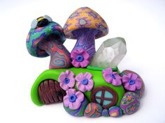 Fairy mushroom house miniature with quartz crystal point, handmade from polymer clay, millefiori patterns, fairy door, tiny bee and flowers via Etsy