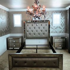 Guess room remodel still in progress. Enhance your home decor with this elegant Celine 5-piece mirrored and upholstered tufted queen-size bedroom set. This set features mirrored panels and includes a queen-size bed, two nightstands, one dresser and one mirror. #MercerChandelier #chandelier