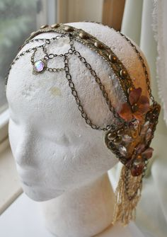 Your place to buy and sell all things handmade - - Mucha Headdress Reverie Tribal Fusion Bellydance by theverdantmuse Tribal Fusion, Headpiece Jewelry, Jewellery, Art Nouveau, Lily Wedding, Mint Gold, Silk Brocade, Just Dance, Brass Chain