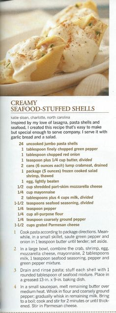 Seafood-Stuffed Shells Creamy Seafood Stuffed Shells - love stuffed shells but never tried it with crab, gotta try this one for sure!Creamy Seafood Stuffed Shells - love stuffed shells but never tried it with crab, gotta try this one for sure! I Love Food, Good Food, Yummy Food, Tasty, Healthy Food, Healthy Meals, Healthy Recipes, Pasta Facil, Crab Recipes