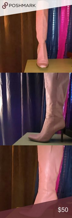 Pink calf length boots Pink leather boots that zip up the inner side/ slight markings, but in otherwise great condition Shoes Heeled Boots