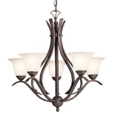 """Dover Single-Tier  Chandelier with 5 Lights - 72"""" Chain Included - 24 Inches Wide"""