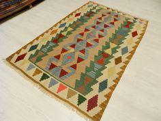 "Pure Wool HandWoven Decorative Kilim Rug 3'3"" x 5'1"" ( 102 cm x 154 cm ) Turkish Rug Vintage Kilim Rug bohemian rug home decor rug Boho Rug"
