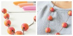 Or color round wooden beads, like this blogger.