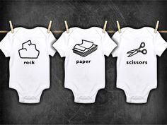 Rock Paper Scissors - Onesies ® - Shirt -Triplets - Sibling Shirts / Onesie - T shirt - Matching - Family Shirts - Going Home Sibling Shirts, Baby Shirts, Family Shirts, Triplets, Siblings, Triplet Babies, Rock Paper Scissors, Heat Press Vinyl, Puppies