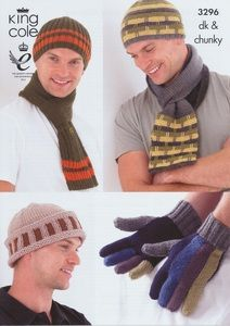 King Cole Mens DK Chunky Knitting Pattern Ribbed Striped Hats, Scarves & Gloves