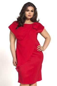Dámské šaty pro plnoštíhlé KAMA se šifonovým všitým plédem červené velikost  50 f336e81f6c
