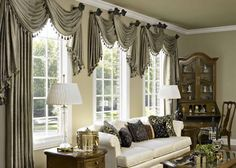 Easy Window Treatment With Decorative Cabinet