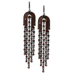 Grand Arches Orangestones Long Tassel Statement Earrings