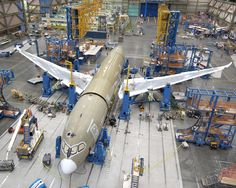 Boeing's composite 787 fuselage being assembled in Everett, Washington