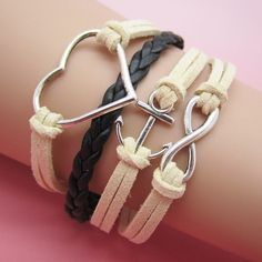 White and Black Anchor & Heart Bracelet || $6.50