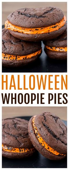 Halloween Whoopie Pies - devils food cake and orange icing make this dessert rec. Hallowen Food , Halloween Whoopie Pies - devils food cake and orange icing make this dessert rec. Halloween Whoopie Pies - devils food cake and orange icing make th. Halloween Desserts, Hallowen Food, Postres Halloween, Halloween Goodies, Halloween Food For Party, Holiday Desserts, Halloween Halloween, Halloween Cookie Recipes, Halloween Quotes