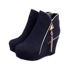 Womens Trendy Platform Wedge Boot Dress Shoes