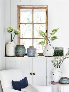 Inspired by Shaker design, this tall, round side table features a simply sculpted leg and a smooth, solid oak top. See it online or at your local Neptune store. Boho Deco, Round Vase, Round Side Table, Terracotta Pots, Faux Flowers, Home Accessories, Colours, Interior Design, Interior Ideas