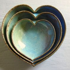 pottery heart bowls nesting dishes