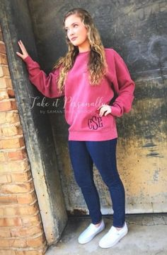 Monogram Sweatshirt - Monogram Tunic - Monogrammed Comfort Colors Sweatshirt - Monogram Pullover - M Monogram Pullover, Comfort Colors, Monogram Initials, Fishtail, Monogram Clothing, Crew Neck, Tunic, Graphic Sweatshirt, Sweatshirts