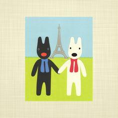 Gaspard and Lisa - Kids art, Playroom art, Kids wall art, Childrens art. $14.00, via Etsy.