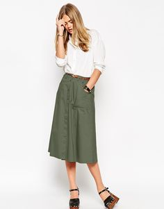 Image 1 of ASOS Midi Skirt With Button Through In Cotton Twill