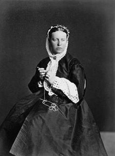 Her Imperial Highness Duchess Alexandra of Oldenburg crocheting