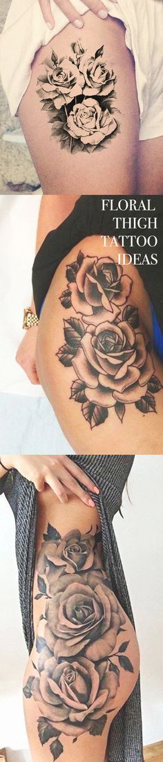 Be good for a cover up w.  Rose Thigh Tattoo Ideas for Women at MyBodiArt.com - Upper Hip Vintage Black Floral Flower Tat