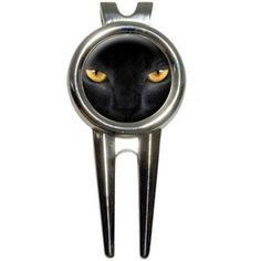 Black Domestic Cat Gold Eyes Golf Divot Repair Tool and Ball Marker