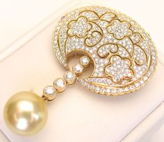 18k Diamond South Sea Pearl Pin/Pendant Necklace is Spectacular & from divinefind on Ruby Lane