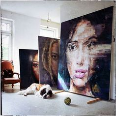 art, painting, and dog resmi