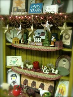 Country Christmas: Slates, sheep, chalkware, stars    Heidi's Cottage, Dunellen NJ heidiscottage.com for more info