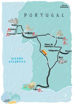 Aluguel de carro | Mapas de roteiros de viagem por Portugal em um carro alugado | Self Drive