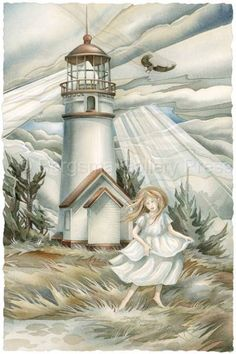 Angels In The Light by Jody Bergsma ~ lighthouse ~ girl