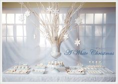 Christmas Party Table Decorations | Dreaming of a White Christmas Dessert Table | Modern Party Ideas