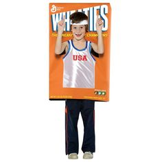 Boys Funny Halloween Costume Wheaties Cereal Box Medium 7 10 Sports champion $34.99