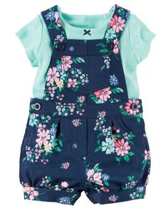 Baby Girl 2-Piece Top & Shortalls Set | Carters.com