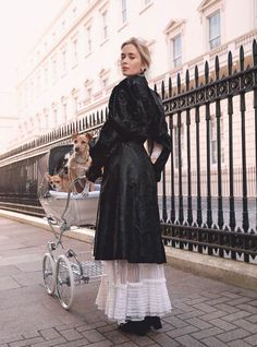 Emily Blunt Arrives as Mary Poppins, Descending Through Grey London Clouds In Harper's Bazaar UK January 2018 - Fashion + Style , Emily Blunt, Dog Photoshoot, Harper's Bazaar, Celebrity Beauty, Celebrity Style, Models, Celebs, Celebrities, Culture