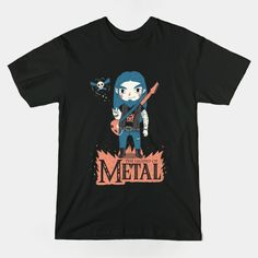 """The legend of Metal"" by Paula García.  Available here: https://www.teepublic.com/show/49334-the-legend-of-metal  #thelegendofzelda #heavymetal #tshirt #link #zelda #teepublic"