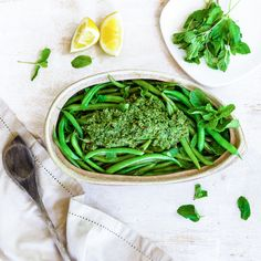 Green Beans with Mint Pistachio Pesto