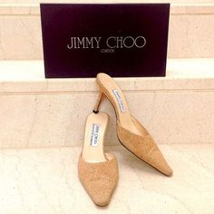 Jimmy Choo For Elspeth Gibson Beige Glitter Leather Size 8 1/2 Pointed Toe Mules. - Beige glitter leather Jimmy Choo mules with pointed toes and covered heels.