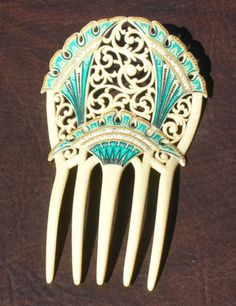 French ivory comb with a hand-enameled deep turquoise design