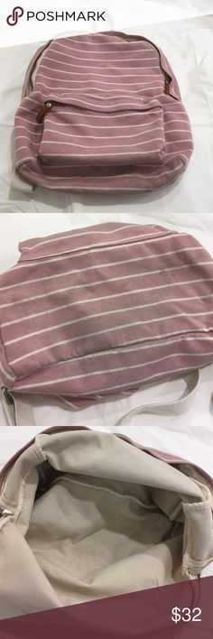Brandy Melville/John Galt Pink Striped Backpack Super pretty, great for back to school  I used it for about one semester, the bottom is a little dirty ( shown in the second pic) and there is light piling on the fabric. Insides are very clean, straps are in good condition  Feel free to offer a price or ask to bundle! Brandy Melville Bags Backpacks