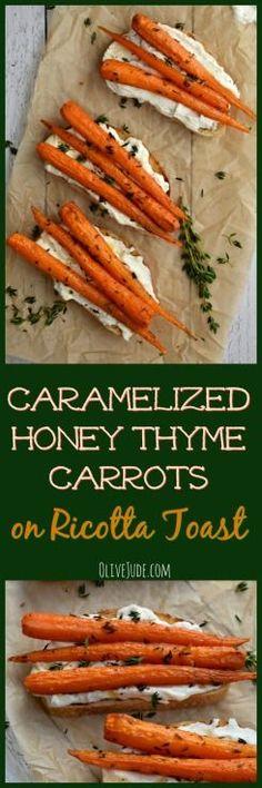 Caramelized Honey Thyme Carrots on Ricotta Toast via Easy Dinner Recipes, Appetizer Recipes, Easy Meals, Easy Recipes, Appetizers, Best Breakfast, Breakfast Recipes, Breakfast Ideas, Ricotta