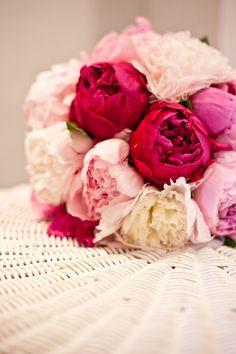 Pink, white, and fuschia peonies.