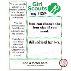 Daisy newsletter template instant editable girl scouts for Girl scout calendar template