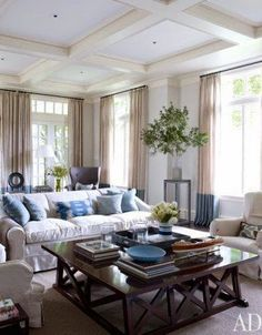 traditional blue and white living family room coffered ceiling