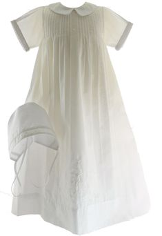 35dec2d50 Boys classic white christening gown & bonnet set has beautiful embroidered  design. Gown comes with