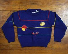 Vintage Toddler Sweater Navy Blue Jumper Pullover Primary Colors Striped Football Sweater 1980s 80s Crew Neck 4t 4 Toddler Boy Boys Preppy #vintage #etsy #toddler #sweater #jumper #pullover #football