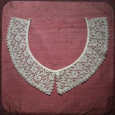 Antique Crochet French round Handcrocheted Collar Lace - Vintage Fine Handmade Trim Fashion from France