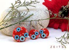 red ,blue embroidery set by zeitx  www.facebook.com/zeitx Clay Tutorials, Clay Ideas, Polymer Clay Jewelry, Filigree, Jewlery, Jewelry Making, Embroidery, Facebook, Earrings