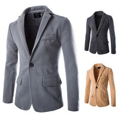Men Fall Cotton Blended Pure Color Solid Button Broadcloth Coat