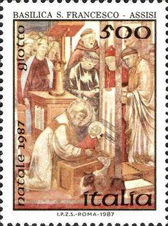 """1987 - Santo Natale - particolari di un'opera pittorica di Giotto:""""il Presepe di Greccio"""", Basilica di San Francesco ad Assisi"""